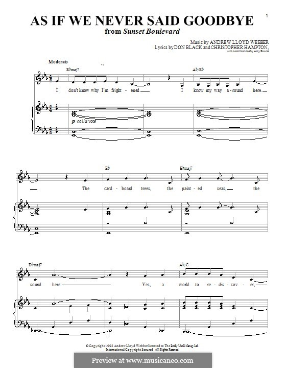 As if We Never Said Goodbye: For voice and piano or guitar (E Flat Major) by Andrew Lloyd Webber
