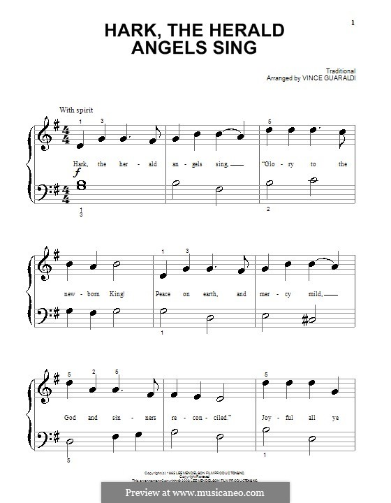 Hark! The Herald Angels Sing: For piano by folklore