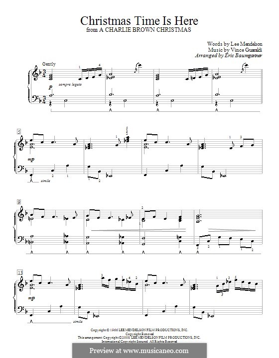 Christmas Time is Here (from A Charlie Brown Christmas), for Piano: With fingering by Vince Guaraldi