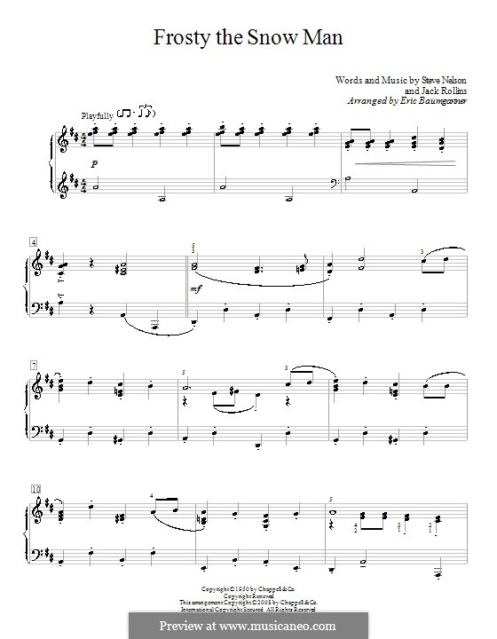 Frosty the Snow Man: For piano (D Major) by Jack Rollins, Steve Nelson