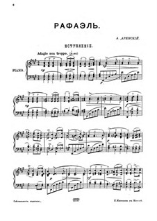Raphael, Op.37: Introduction, for piano by Anton Arensky