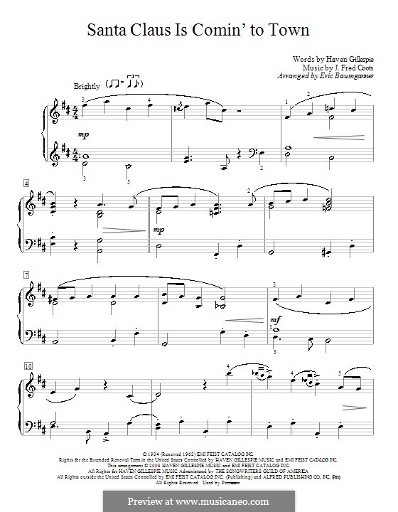 Santa Claus is Comin' to Town, for Piano: For a single performer by J. Fred Coots