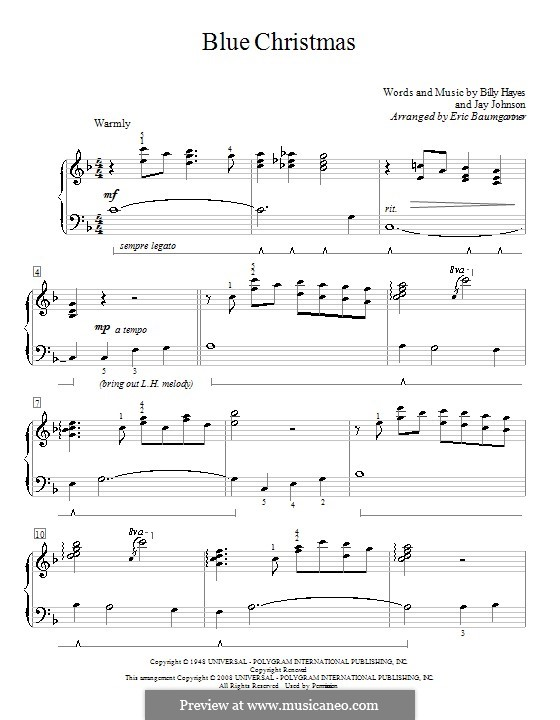 Blue Christmas, for Piano: For a single performer by Billy Hayes, Jay Johnson