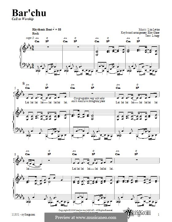 Bar'chu: For voice and piano (or guitar) by Lisa Levine