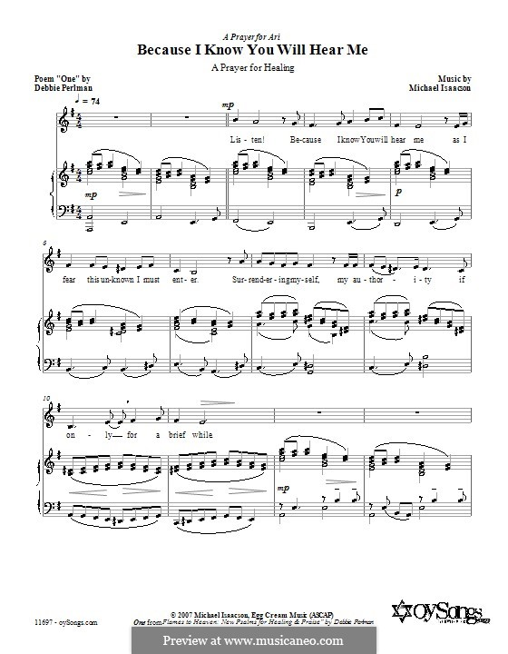 Because I Know You Will Hear Me: For voice and piano (or guitar) by Debbie Perlman
