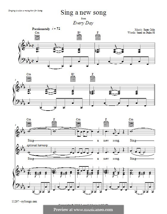 Sing a New Song: For voice and piano (or guitar) by Susan Colin