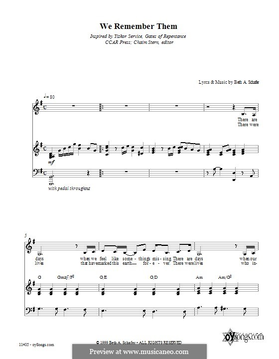 We Remember Them: For voice and piano (or guitar) by Beth Schafer