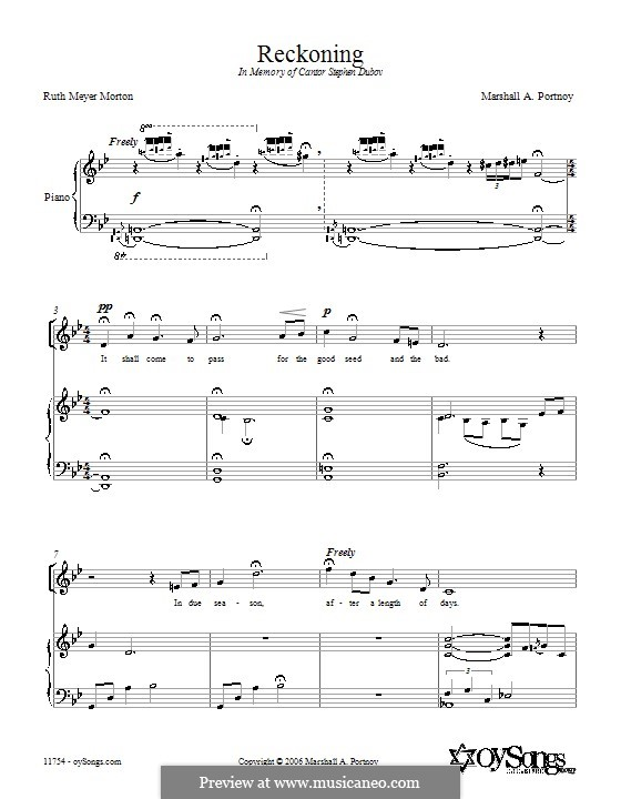 Reckoning: For voice and piano (or guitar) by Ruth Meyer Morton