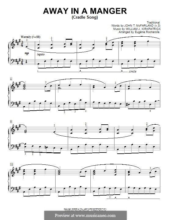 Away in a Manger: For piano by William (James) Kirkpatrick