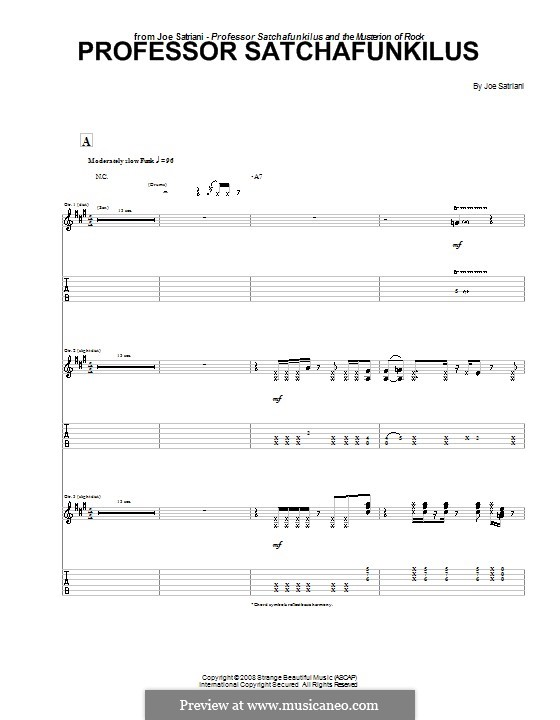 Professor Satchafunkilus: For guitar with tab by Joe Satriani