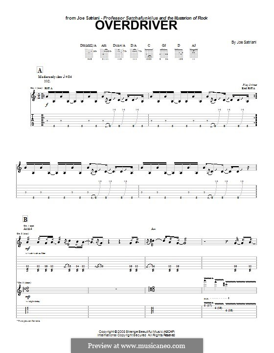 Overdriver: For guitar with tab by Joe Satriani