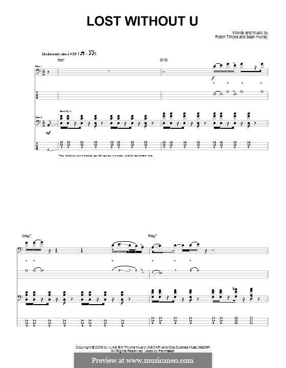 Lost without U: For guitar with tab by Sean Hurley