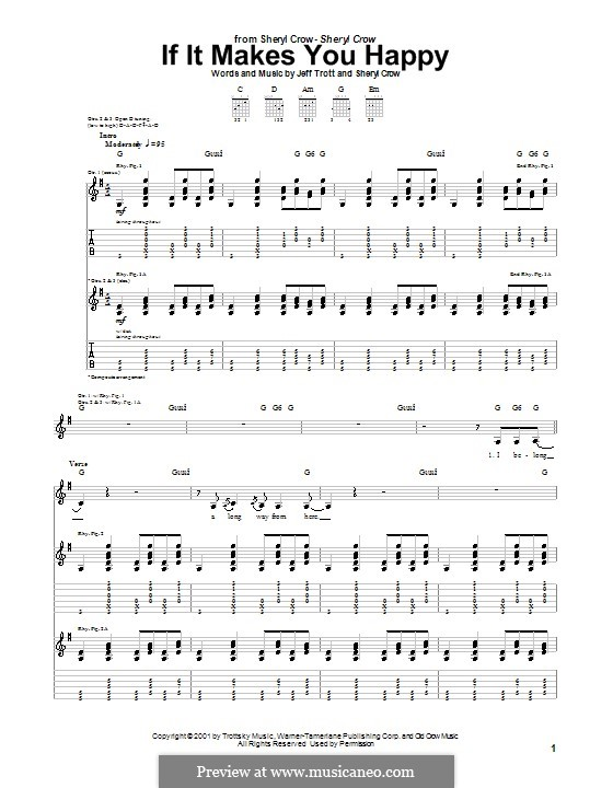 If It Makes You Happy: For guitar with tab by Jeffrey Trott, Sheryl Crow