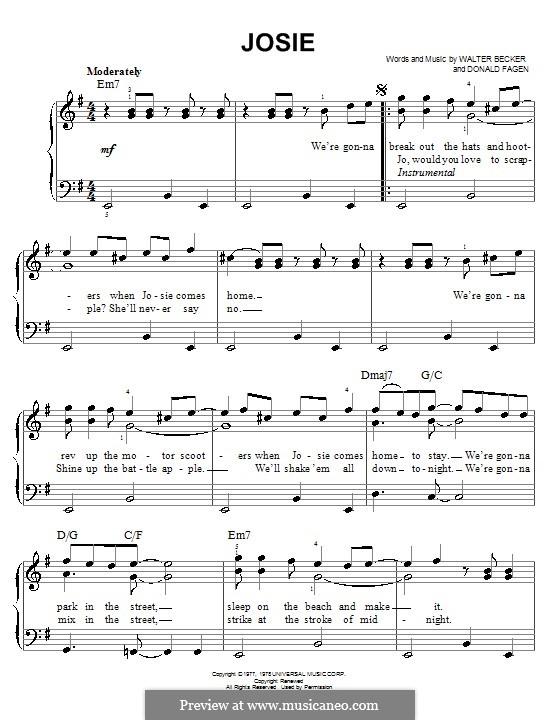 Josie (Steely Dan): For easy piano by Donald Fagen, Walter Becker