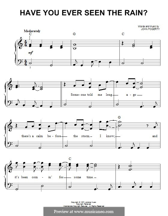 Have You Ever Seen the Rain? (Creedence Clearwater Revival): For easy piano by John C. Fogerty