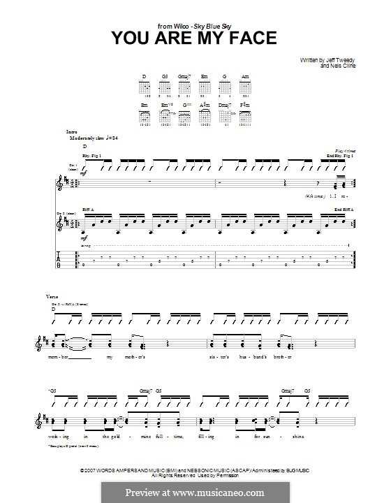 You Are My Face (Wilco): For guitar with tab by Jeff Tweedy, Nels Cline