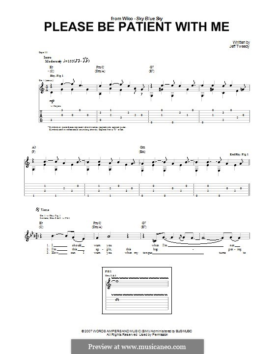 Please Be Patient with Me (Wilco): For guitar with tab by Jeff Tweedy