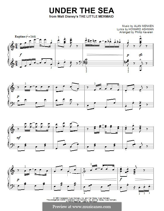 Under the Sea (from The Little Mermaid): For piano by Alan Menken