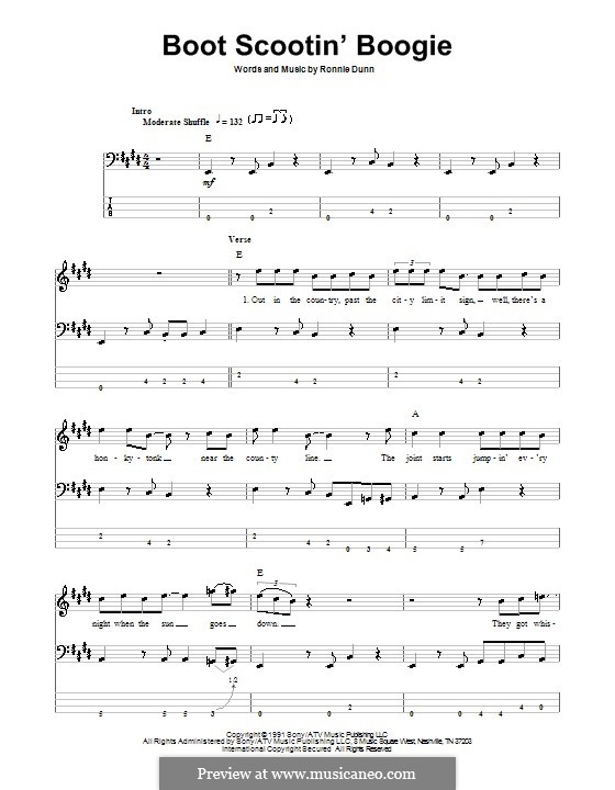 Boot Scootin' Boogie (Brooks & Dunn): For bass guitar with tab by Ronnie Dunn