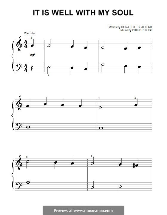 It Is Well with My Soul (Printable scores): For piano (very easy version) by Philip Paul Bliss