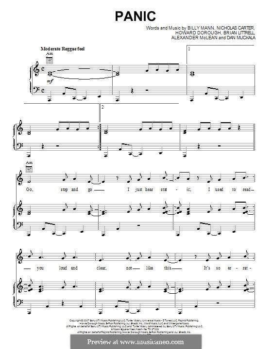 Panic (Backstreet Boys): For voice and piano (or guitar) by Alexander McLean, Billy Mann, Brian T. Littrell, Dan Muckala, Howard Dorough, Nick Carter