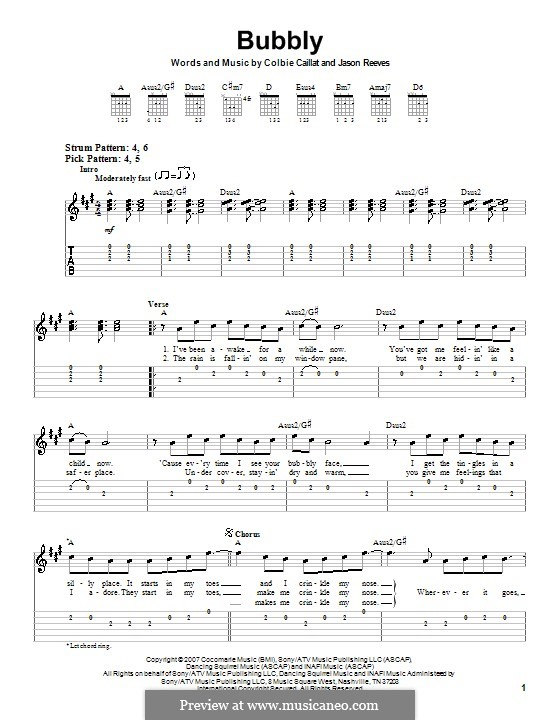 Bubbly: For guitar (very easy version) by Jason Reeves