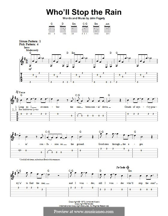 Who'll Stop the Rain (Creedence Clearwater Revival): For guitar (very easy version) by John C. Fogerty