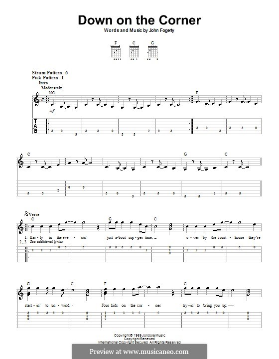 Down on the Corner (Creedence Clearwater Revival): For guitar (very easy version) by John C. Fogerty