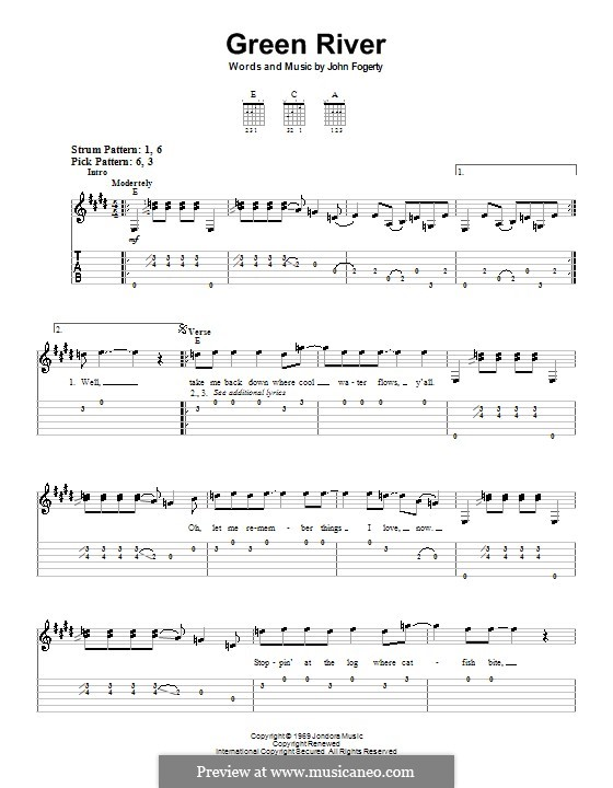 Green River (Creedence Clearwater Revival): For guitar (very easy version) by John C. Fogerty