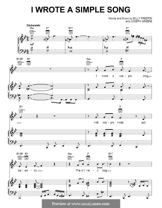 I Wrote a Simple Song (Billy Preston): For voice and piano (or guitar) by Joseph Greene
