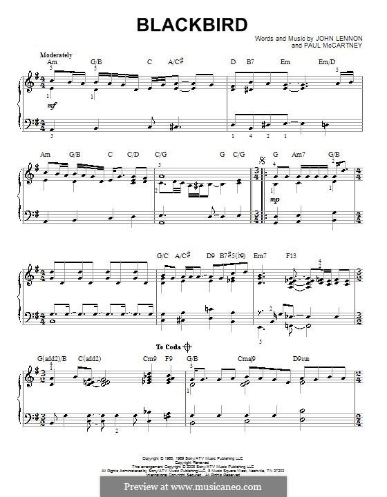 Blackbird (The Beatles): For piano (jazz version) by John Lennon, Paul McCartney