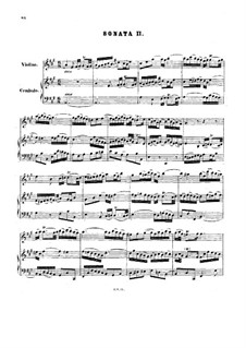 Sonata for Violin and Harpsichord No.2 in A Major, BWV 1015: Full score by Johann Sebastian Bach