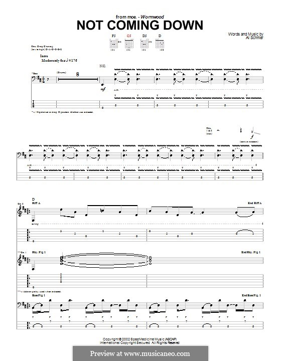 Not Coming Down (moe.): For guitar with tab by Al Schnier