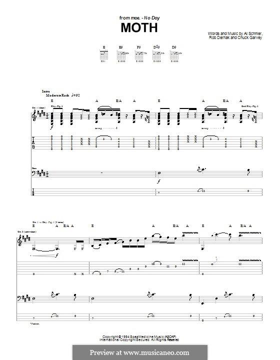 Moth (moe.): For guitar with tab by Al Schnier, Chuck Garvey, Rob Derhak