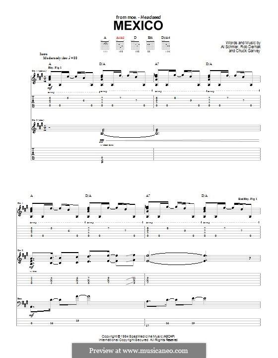 Mexico (moe.): For guitar with tab by Al Schnier, Chuck Garvey, Rob Derhak