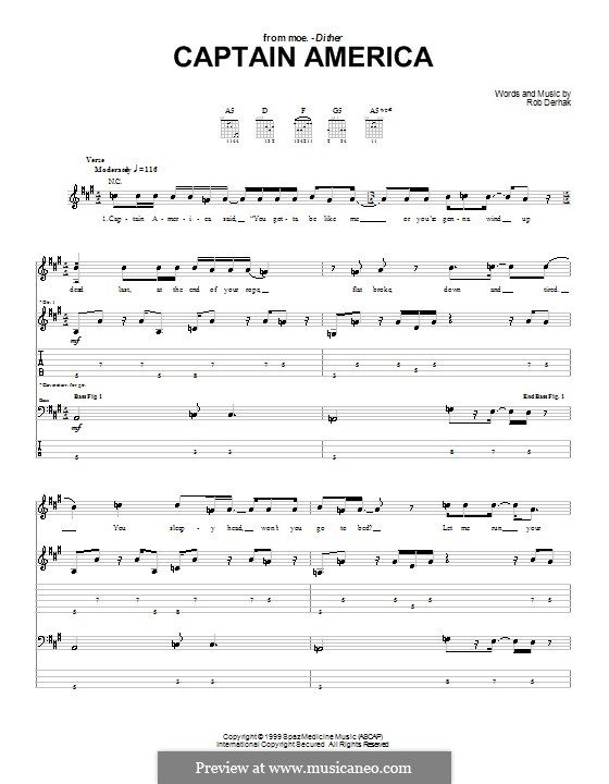 Captain America (moe.): For guitar with tab by Rob Derhak