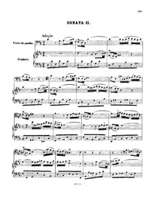 Sonata for Viola da Gamba and Harpsichord No.2 in D Major, BWV 1028: Score by Johann Sebastian Bach