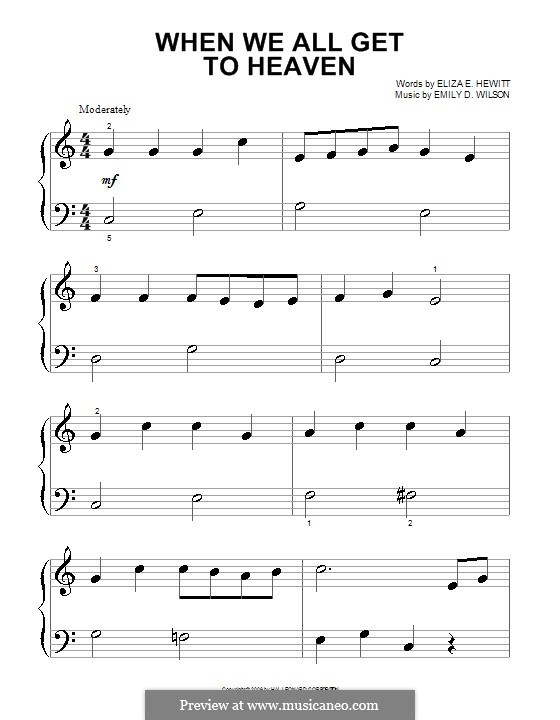 When We All Get To Heaven: For piano (very easy version) by Emily D. Wilson