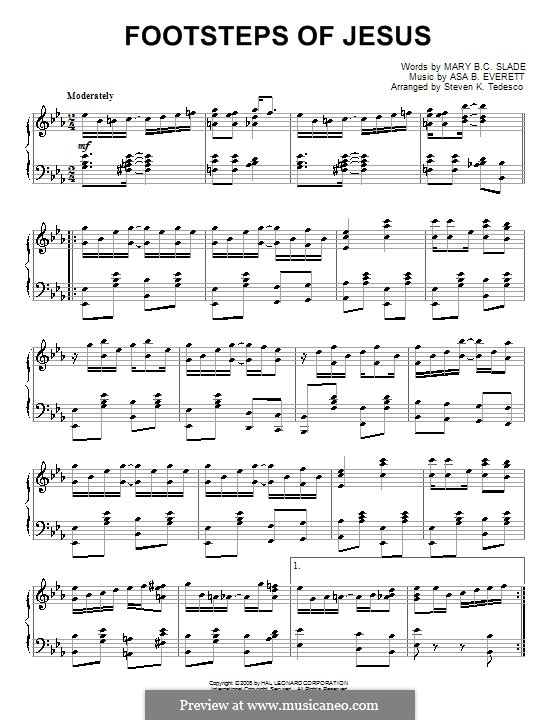 Footsteps of Jesus: For piano by Asa B. Everett