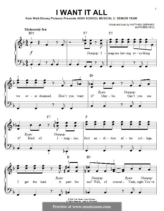 I Want It All (from High School Musical 3): For easy piano by Matthew Gerrard, Robbie Nevil