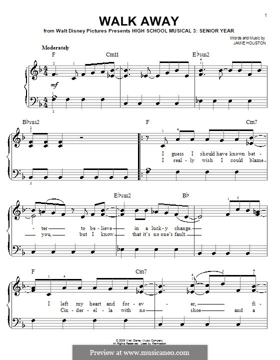 Walk Away (High School Musical 3): For easy piano by Jamie Houston