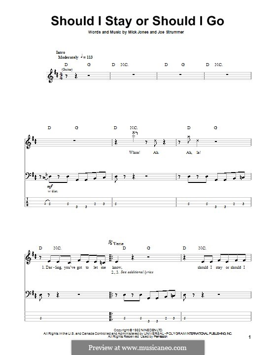 Should I Stay or Should I Go (The Clash): For bass guitar with tab by Joe Strummer, Mick Jones