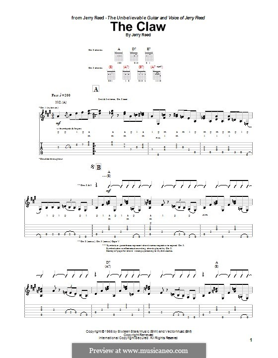 The Claw: For guitar with tab by Jerry Reed