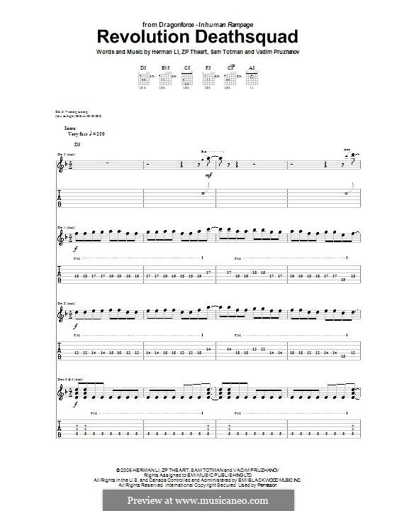 Revolution Deathsquad (DragonForce): For guitar with tab by Herman Li, Sam Totman, Vadim Pruzhanov, ZP Theart