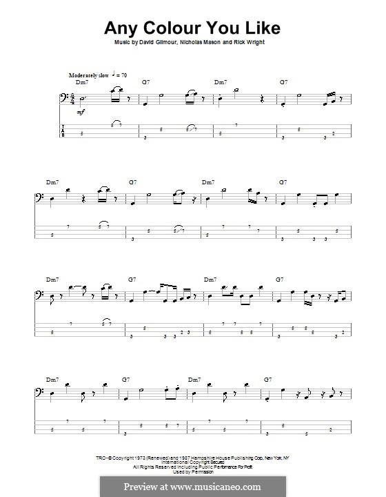 Any Colour You Like (Pink Floyd): For bass guitar with tab by David Gilmour, Nicholas Mason, Richard Wright