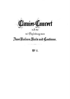 Concerto for Harpsichord and Strings No.4 in A Major, BWV 1055: Full score by Johann Sebastian Bach