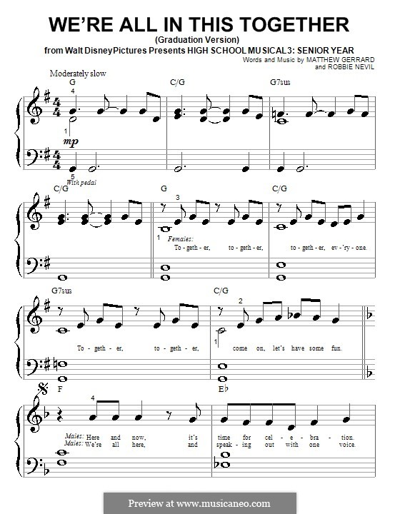 We're All in This Together (Graduation Version): For piano (High School Musical 3) by Matthew Gerrard, Robbie Nevil