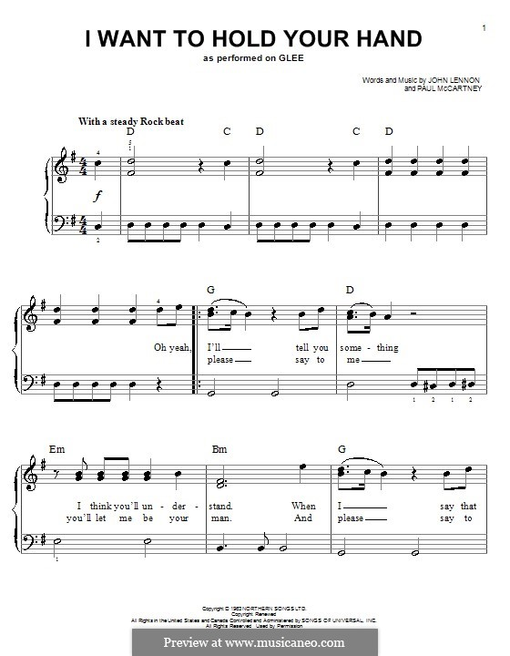 I Want to Hold Your Hand (The Beatles): For easy piano by John Lennon, Paul McCartney