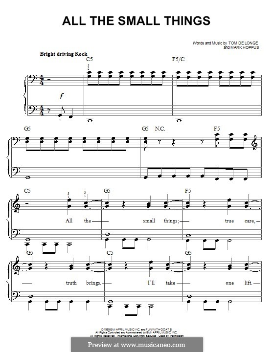 All the Small Things (Blink-182): For easy piano by Mark Hoppus, Tom DeLonge