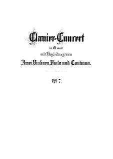 Concerto for Harpsichord and Strings No.7 in G Minor, BWV 1058: Full score by Johann Sebastian Bach